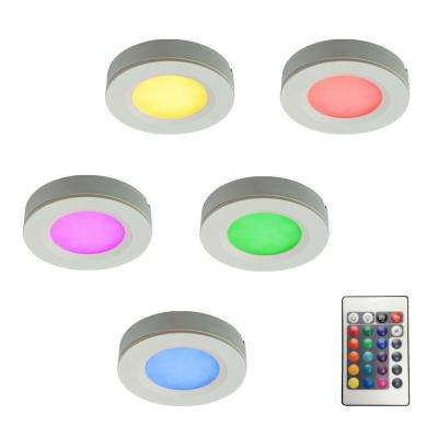 RGB LED Pucks Light Kit with Plug-In Driver and Remote Controller (5-Piece)