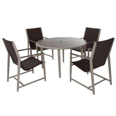 Monterey Valley 5 Piece Mixed Media Brown And Cream Wicker Patio Dining Set