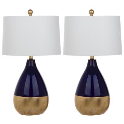 Kingship 24 in. Navy/Gold Gourd Table Lamp with Off-White Shade (Set of 2)