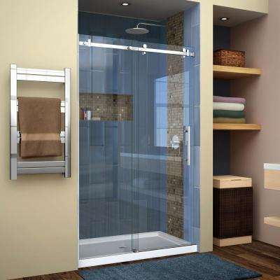 Enigma Air 44 in. to 48 in. x 76 in. Frameless Sliding Shower Door in Polished Stainless Steel