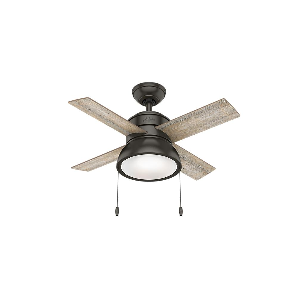 Hunter Loki 36 in  Integrated LED Indoor Noble Bronze Ceiling Fan with  Light Kit
