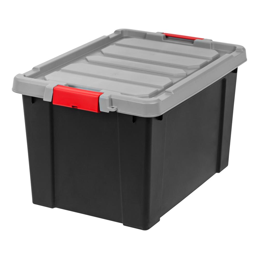 IRIS 19 Gallon Store-It-All Tote Black with Red Buckles (4-Pack)