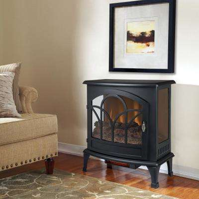 25 in. Freestanding Infrared Curved Front Panoramic Stove with Glass Front in Black