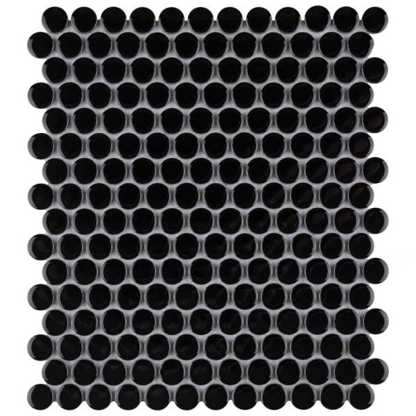 Metro Penny Glossy Black 11-1/2 in. x 9-3/4 in. Porcelain Mosaic Tile (15.94 sq. ft./Case)