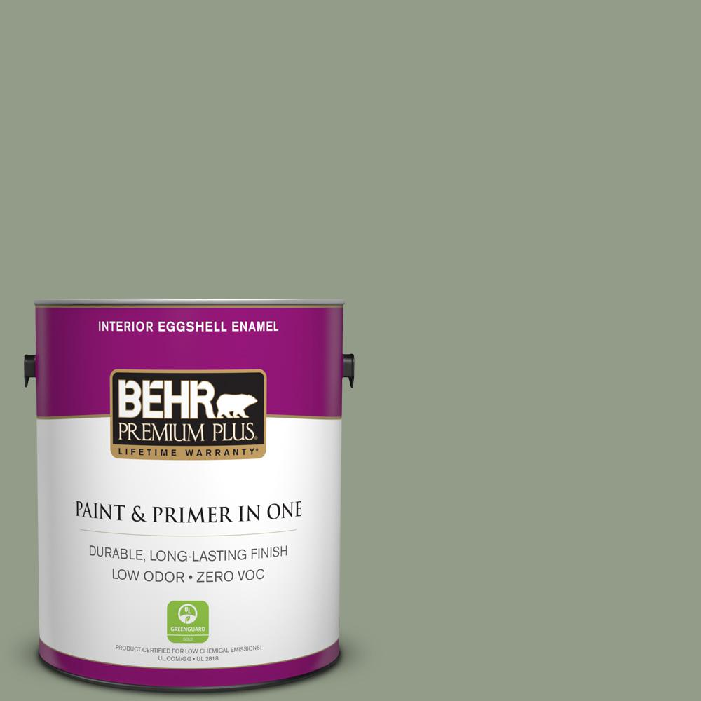 BEHR Premium Plus 1-gal. #430F-4 False Cypress Zero VOC Eggshell Enamel Interior Paint