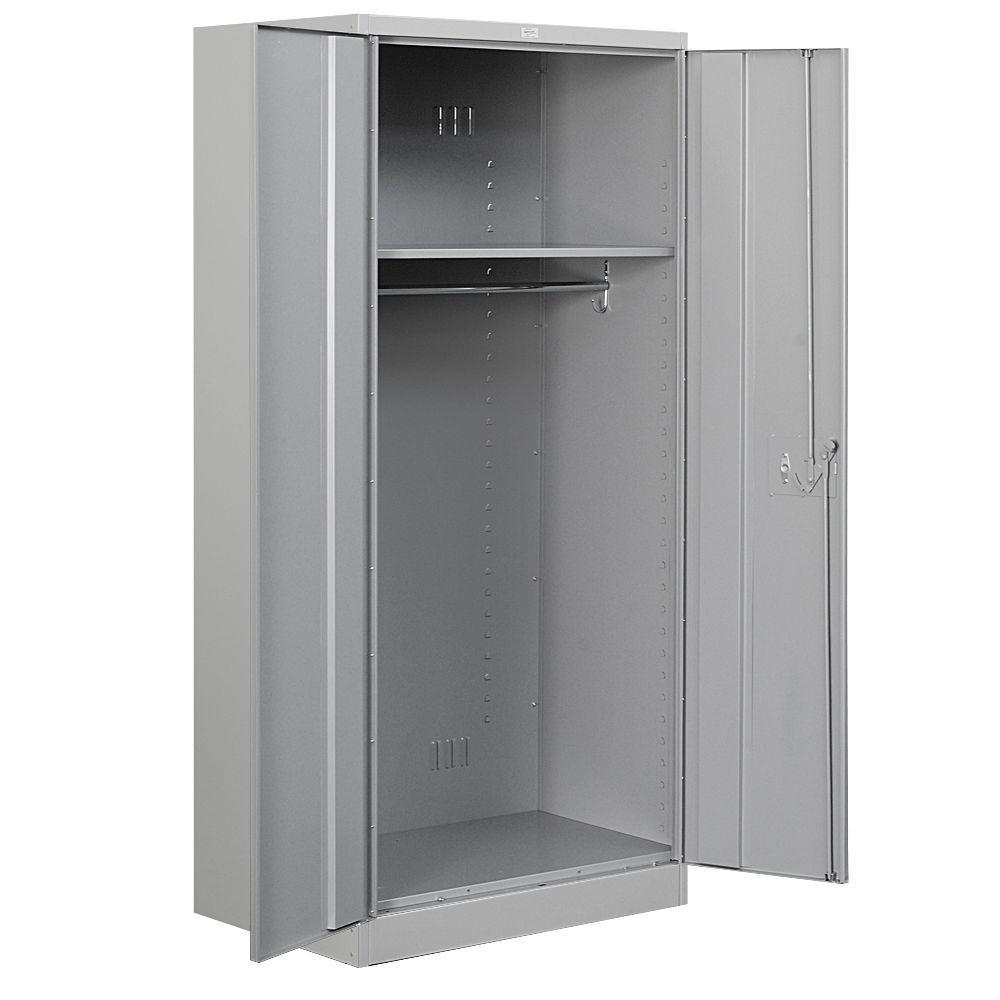 36 in. W x 78 in. H x 24 in. D Wardrobe Heavy Duty Storage Cabinet Unassembled in Gray