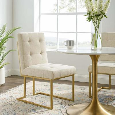 Privy Gold Beige Gold Stainless Steel Upholstered Fabric Dining Accent Chair