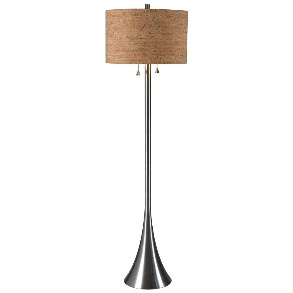 Stainless steel floor lamps lamps the home depot brushed steel floor lamp aloadofball Image collections