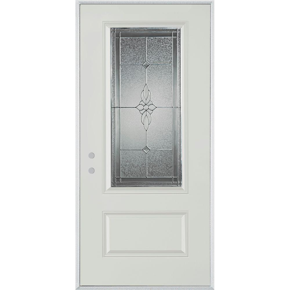 Stanley Doors 32 in. x 80 in. Victoria Classic Zinc 3/4 Lite 1-Panel Painted White Right-Hand Inswing Steel Prehung Front Door