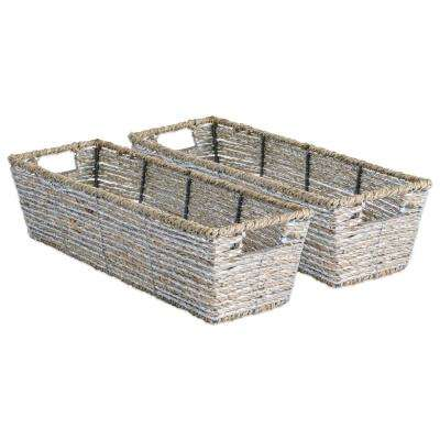 Trapezoidal Woven Seagrass Decorative Bin (Set of 2)