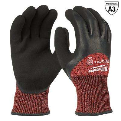 Medium Red Nitrile Dipped Cut 3 Resistant Winter Insulated Work Gloves