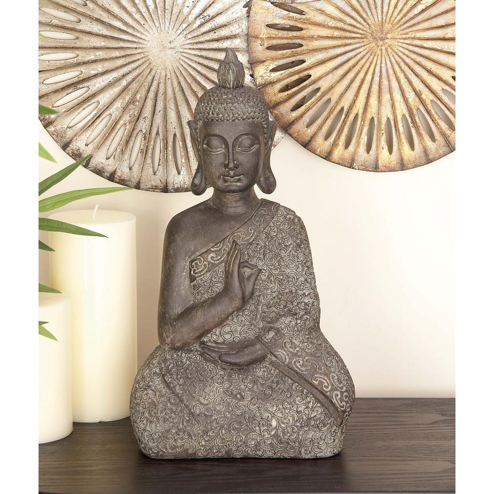 17 in. x 9 in. Decorative Buddha Sculpture in Colored Polystone