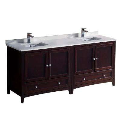 Oxford 72 in. Double Vanity in Mahogany with Quartz Stone Vanity Top in White with White Basins