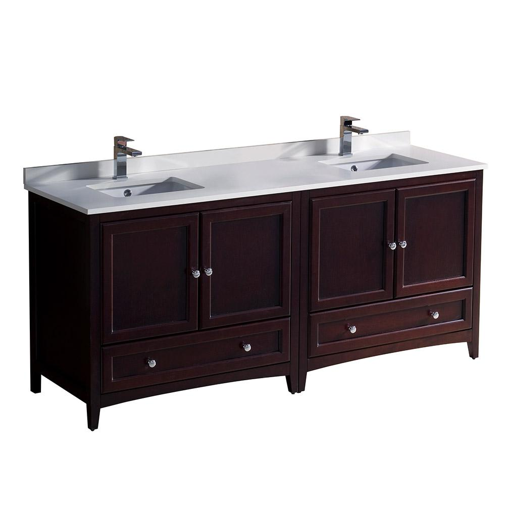 Fresca Oxford 72 In Double Vanity In Mahogany With Quartz Stone Vanity Top In White With White