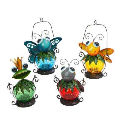 Asst Multicolor Solar Hanging Critters (Set of 4)