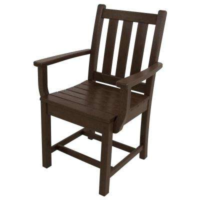 Traditional Garden Mahogany All-Weather Plastic Outdoor Dining Arm Chair