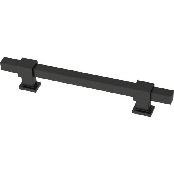 Square Bar 1-3/8 in. to 6-5/16 in. (35 mm to 160 mm) Matte Black Adjustable Drawer Pull (5-Pack)