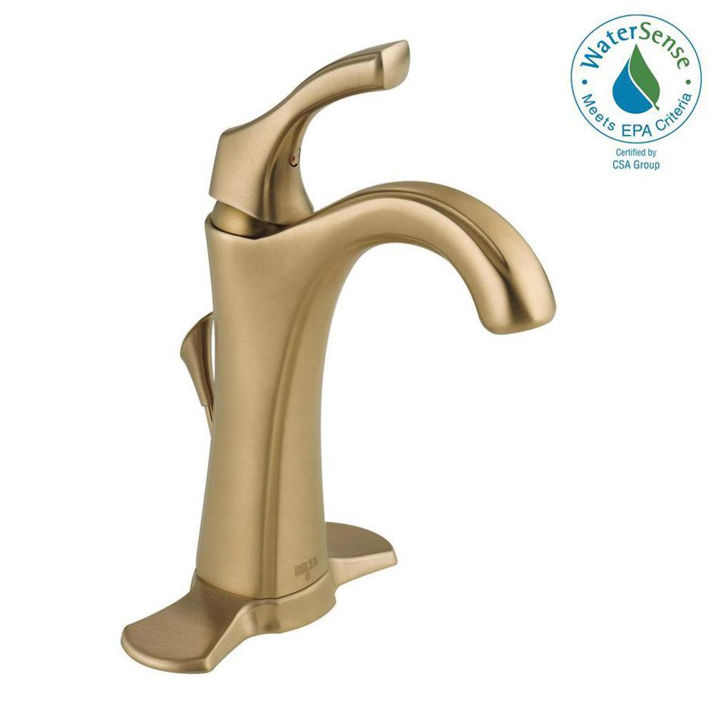 Addison Single Hole Single-Handle Bathroom Faucet with Metal Drain Assembly in