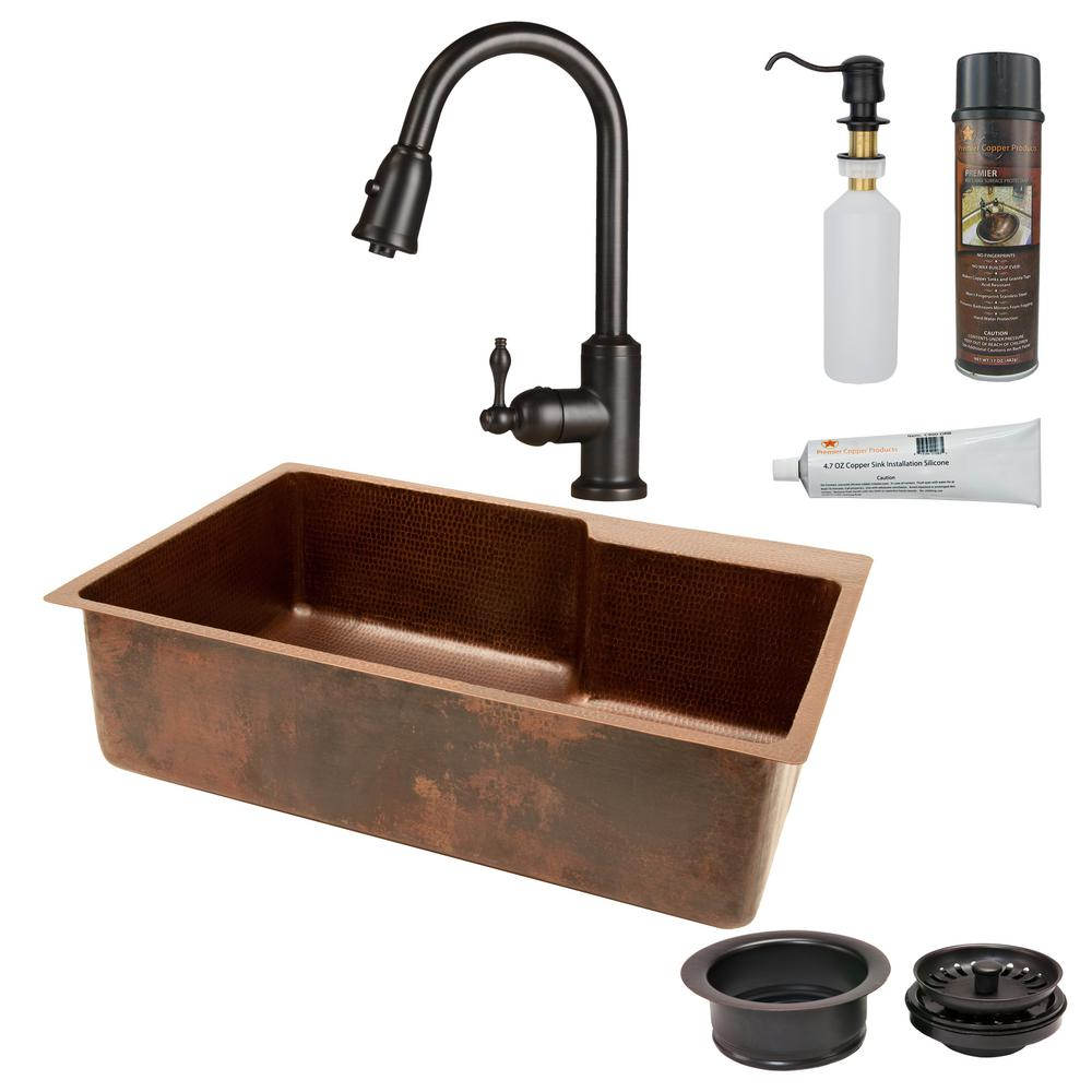 Premier Copper Products All-in-One Undermount Hammered Copper 33 in. 0-Hole Single Bowl Kitchen Sink with Space for Faucet in Oil Rubbed Bronze