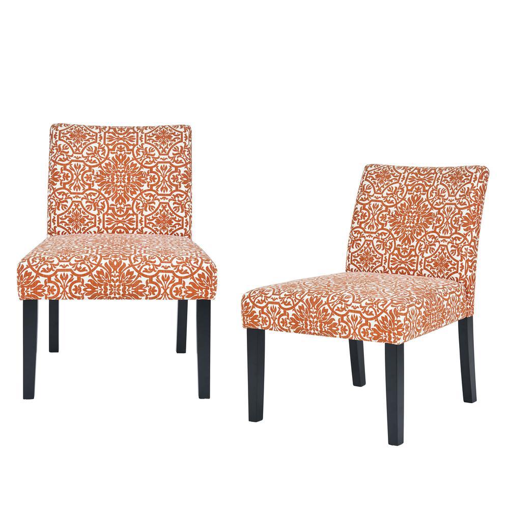 Nate Burnt Orange Damask Side Chairs (Set of 2)