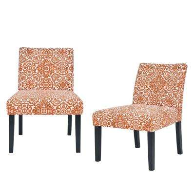 Nate Burnt Orange Damask Side Chairs (Set of 2)