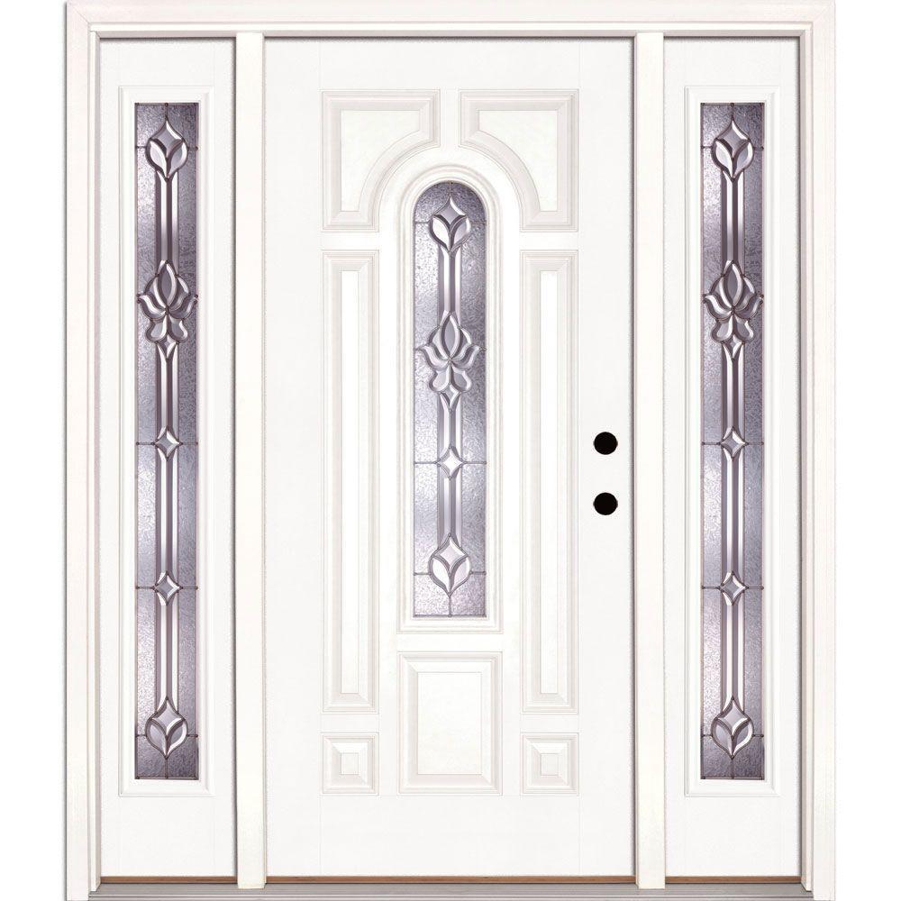 59.5 in.x81.625 in. Medina Zinc Center Arch Lite Unfinished Smooth Left-Hand Fiberglass Prehung Front Door w/ Sidelites