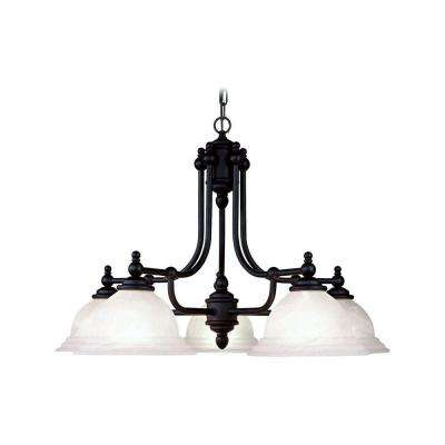 5-Light Black Chandelier with White Alabaster Glass Shade