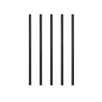 32 in. x 3/4 in. Charcoal Aluminum Round Satin Smooth Deck Railing Baluster with Connectors (5-Pack)
