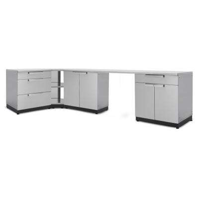 Stainless Steel Classic 6-Piece 110x36x76 in. Outdoor Kitchen Cabinet Set with Covers