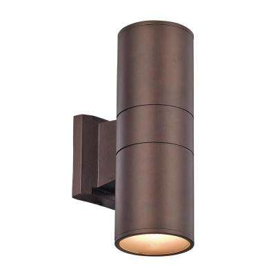 Compact 20-Watt Bronze Integrated LED Outdoor Wall Mount Cylinder Light