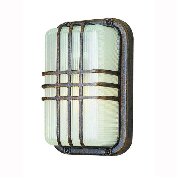 Bulkhead 1-Light Outdoor Rust Wall or Ceiling Fixture with Clear Polycarbonate Shade
