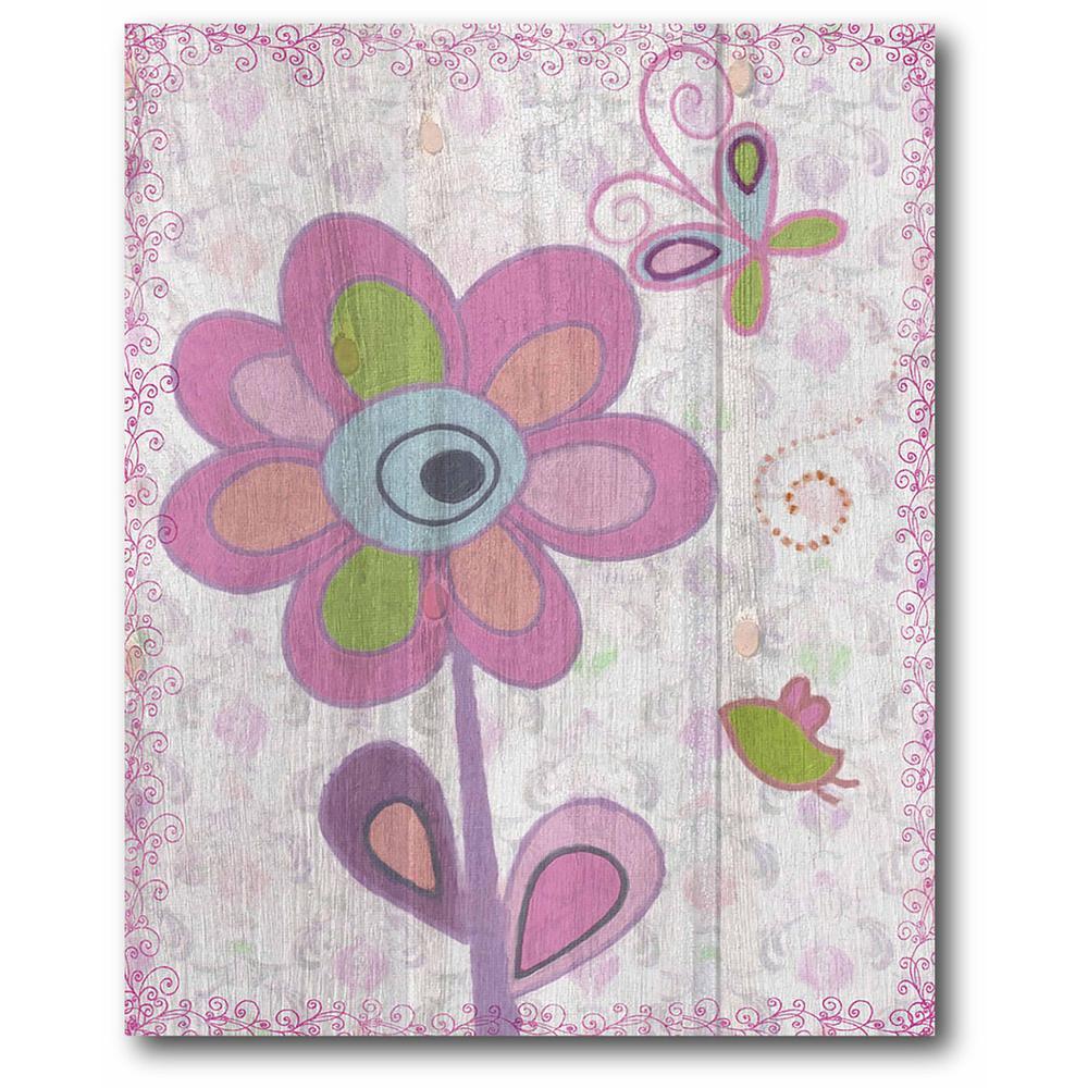 "16 in. x 20 in. ""Purple Flower Power II"" Gallery Wrapped Canvas Printed Wall Art"