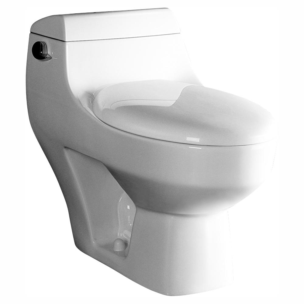 Ariel Platinum 1-Piece 1.28 GPF Single Flush Elongated Toilet in White, Seat Included
