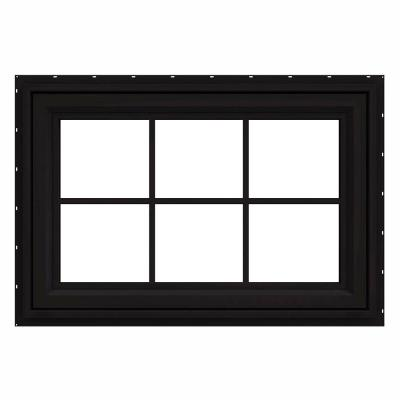 36 in. x 24 in. V-4500 Series Black FiniShield Vinyl Awning Window with Colonial Grids/Grilles