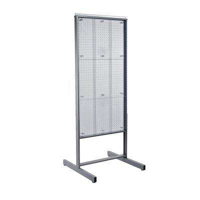 48 in. H x 24 in. W Clear Two sided Pegboard display with wheels and levelers