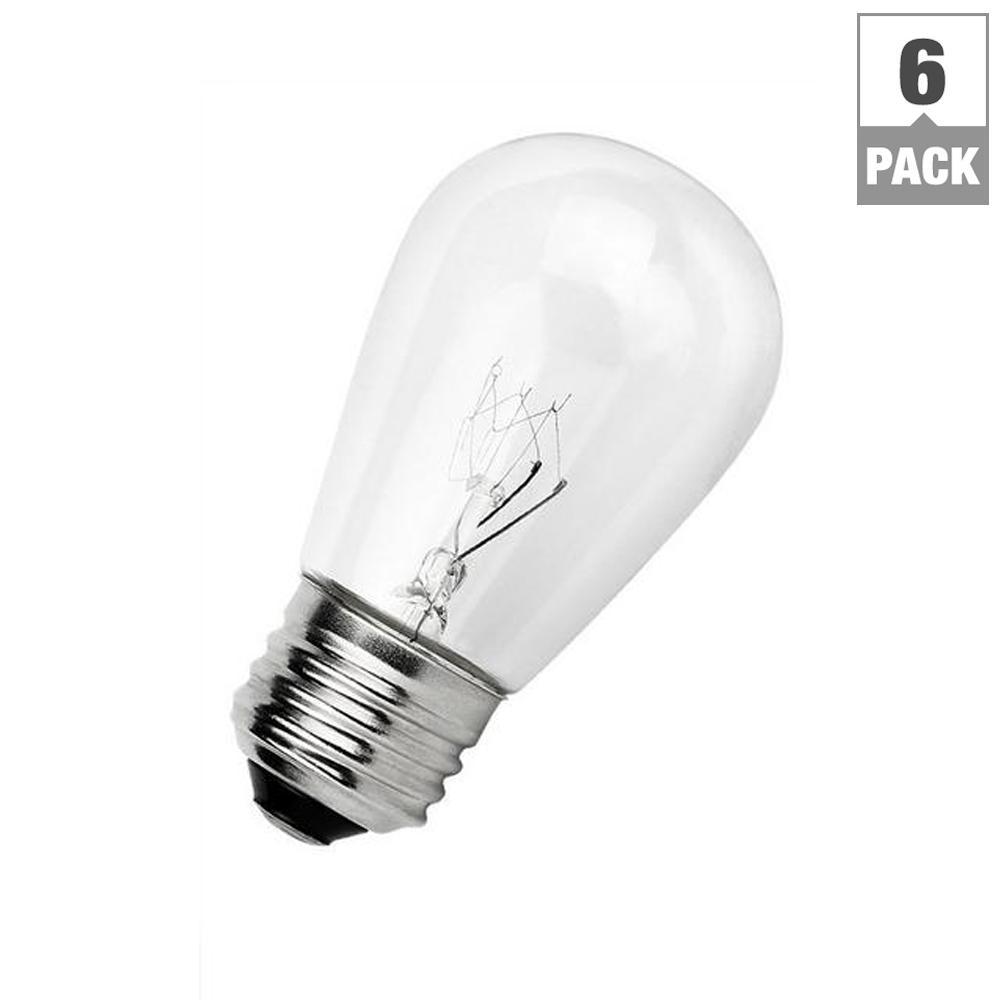 Outdoor Weatherproof 11-Watt S14 Incandescent Replacement String Light Bulb Standard Base (6-Pack)