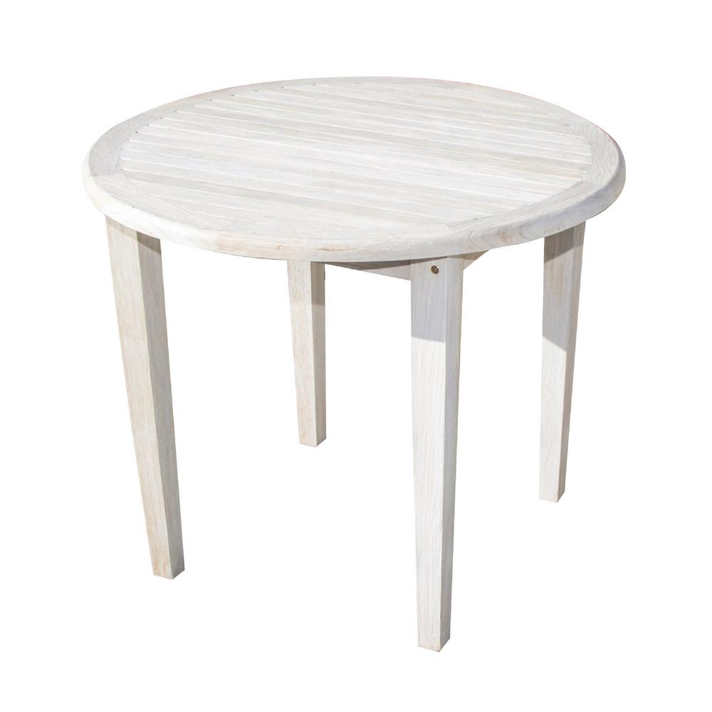 D Driftwood And Soild Teak Indoor Outdoor Round Dining Table Rd Tb 5 The Home Depot