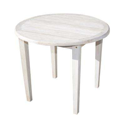 Oasis 36 in. D Driftwood and Soild Teak Indoor Outdoor Round Dining Table