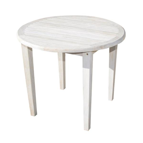 Coastal Vogue Oasis 36 In D Driftwood And Soild Teak Indoor Outdoor Round Dining Table