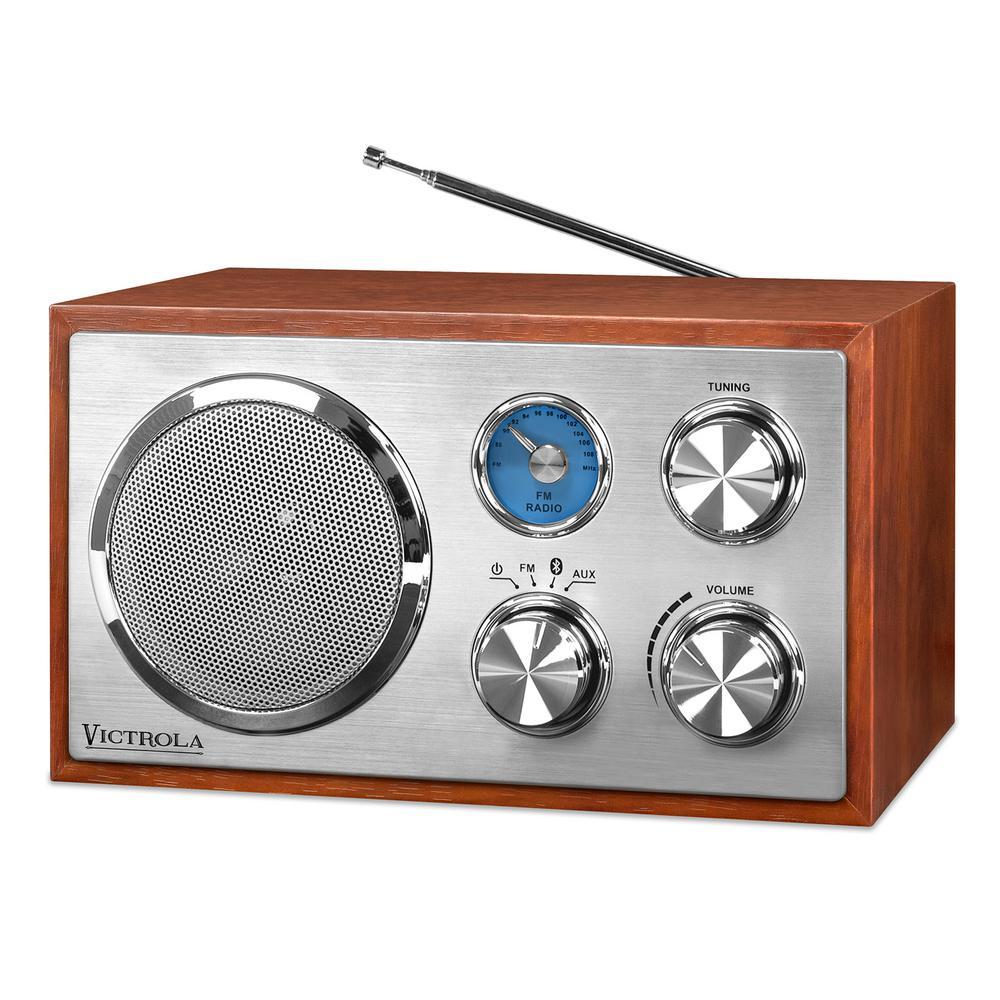 Victrola Wooden Desktop Bluetooth Radio in Mahogany