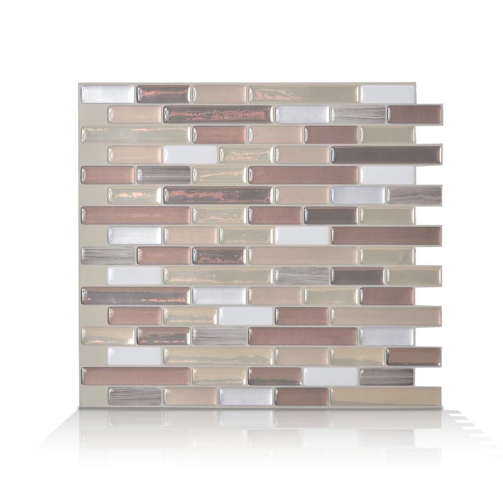 Muretto Durango Beige 10.20 in. W x 9.10 in. H Peel and Stick Self-Adhesive  Mosaic Wall Tile Backsplash (6-Pack)