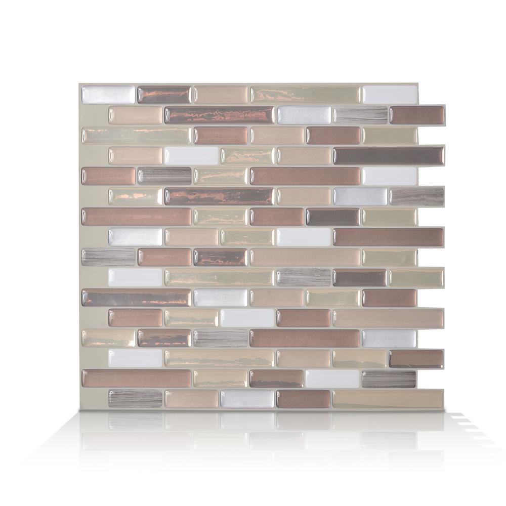 SmartTiles Smart Tiles Muretto Durango Beige 10.20 in. W x 9.10 in. H Peel and Stick Self-Adhesive Decorative Mosaic Wall Tile Backsplash, Grey Marble/ Light