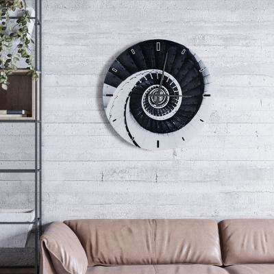 Light Twisty and Swirly Shades of Grey Glass Wall Clock