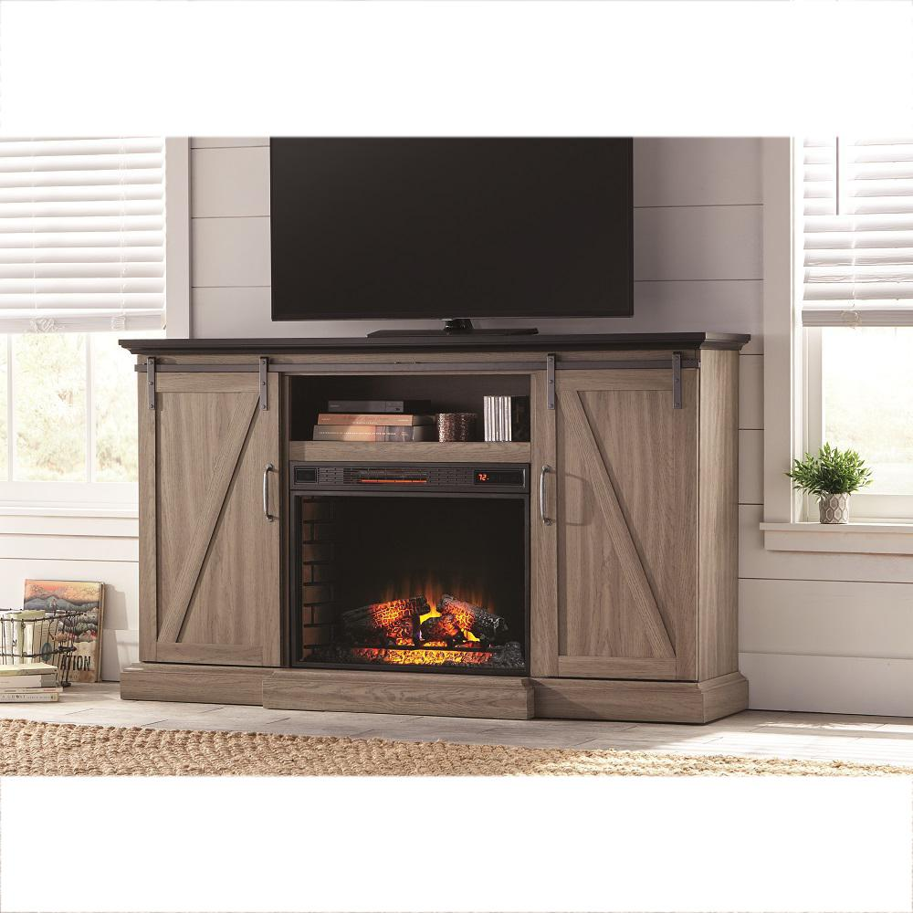 Home Decorators Collection Chestnut Hill 68 In. TV Stand Electric Fireplace  With Sliding Barn Door