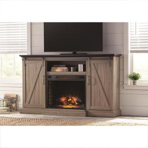 Merveilleux TV Stand Electric Fireplace With Sliding Barn Door In Ash