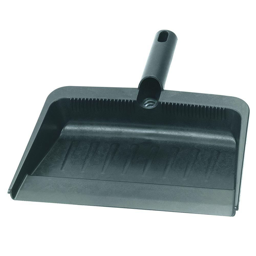 12 in. Rubberized Flexible Plastic Dust Pan in Black (Case of