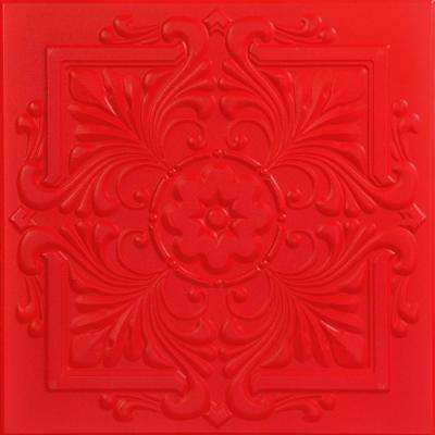 Victorian 1.6 ft. x 1.6 ft. Foam Glue-up Ceiling Tile in Red