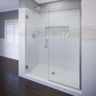 Celesta 46 in. x 72 in. Semi-Frameless Pivot Shower Door in Brushed Nickel with Handle