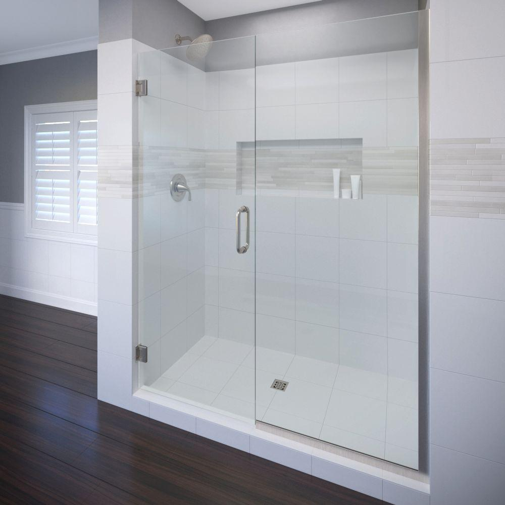 Basco Celesta 59 in. x 72 in. Semi-Frameless Pivot Shower Door in Brushed Nickel with Handle