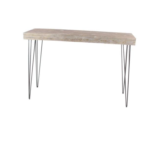 Litton Lane Modern Elegance Gray Wood and Iron Console Table 56974